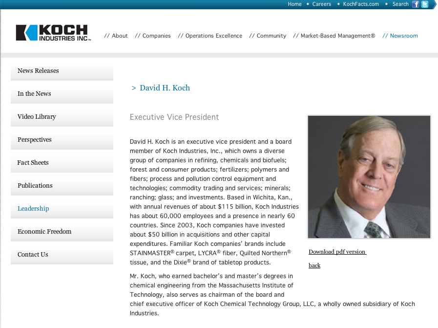 Beat the press video koch redux wgbh news for Koch industries