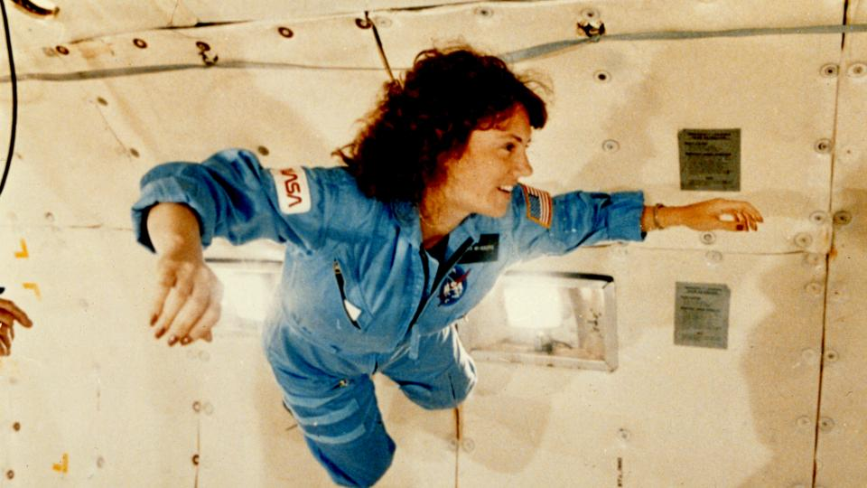 Christa McAuliffe experiences weightlessness in training