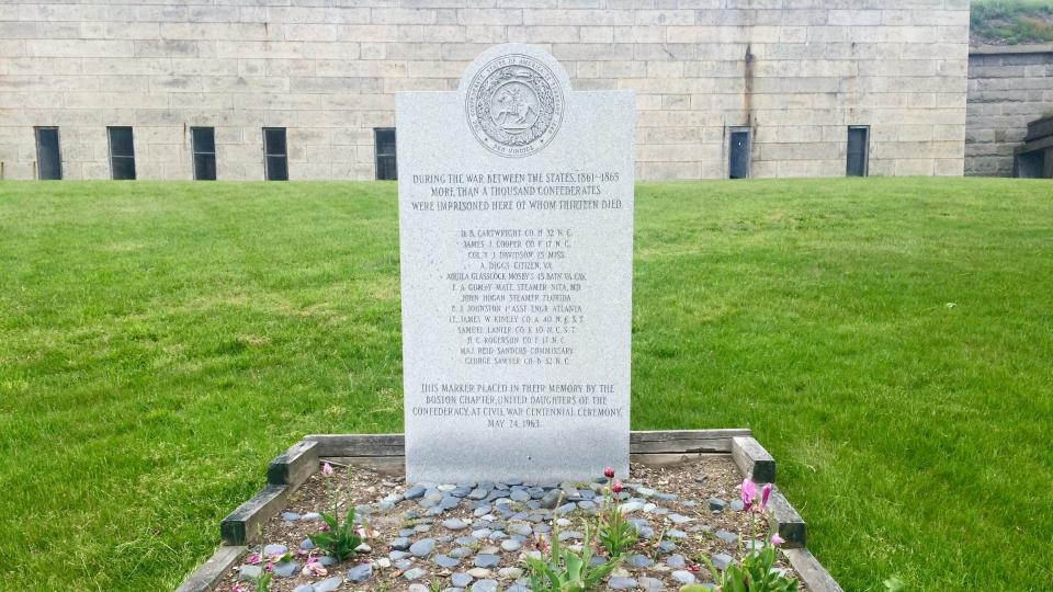 The Confederate memorial on Georges Island was placed by the United Daughters of the Confederacy's now-defunct Boston chapter in 1963.