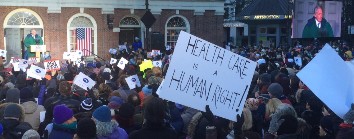 US Senator Ed Markey addresses a pro-Affordable Care Act rally at Faneuil Hall in Boston.