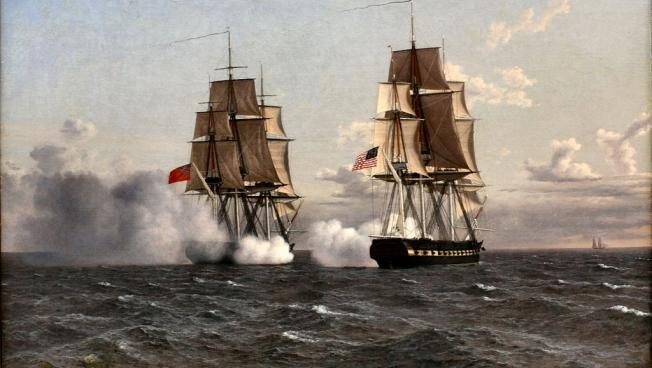 Painting of the Battle of Boston Harbor