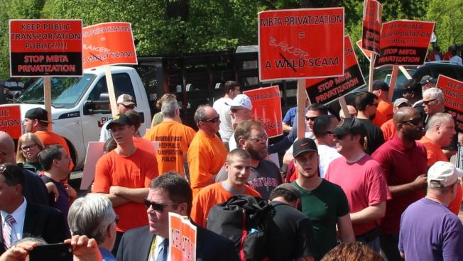 MBTA bus maintenance workers rallied Wednesday at the State House
