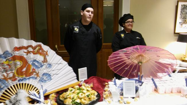 Culinary students from South Shore Vocational Technical High School served up sandwiches at an event to lobby lawmakers to increase funding for vocational schools Tuesday.