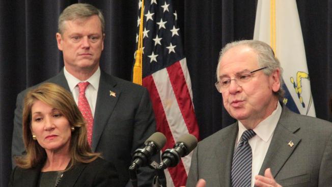 Gov. Charlie Baker and Lt. Gov. Karen Polito appeared at a press conference with House Speaker Robert DeLeo in January.