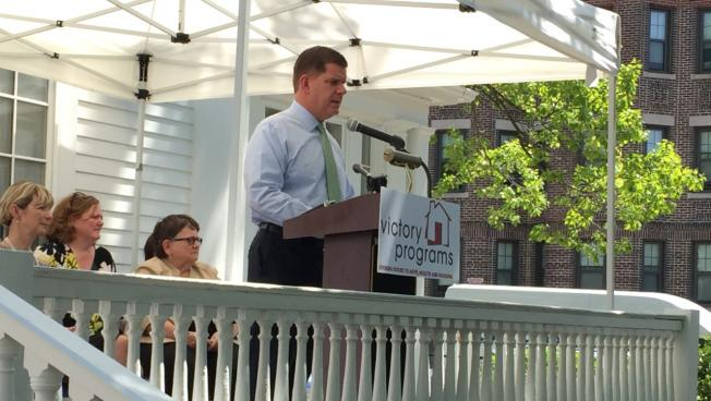 Boston Mayor Marty Walsh speaks at the grand opening of New Joelyn's Home in Roxbury.