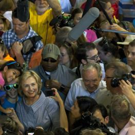 Hillary Clinton works the crowd at the Iowa State Fair.