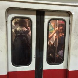 Riders packed the Red Line at Andrew Station Monday morning.