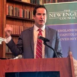 Congressman Seth Moulton before the New England Council Wednesday morning.