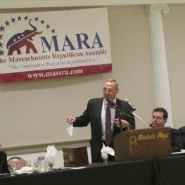Paul Lepage speaks before Massachusetts Republicans