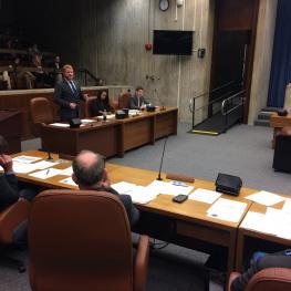 Boston City Councilor Matt O'Malley introduces his plastic shopping bag ban ordinance to the Council.