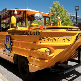 An amphibious vehicle known as a Duckboat as pictured on Flickr.