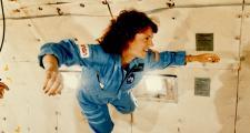 Christa McAuliffe experiences weightlessness in training