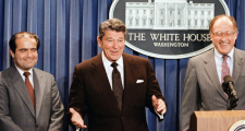 The late Supreme Court Justice Antonin Scalia (left) Flanked by President Ronald Reagan and Chief Justice William Renquist (right).