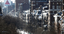 February 2015: Boston's Beacon Street a hanging garden of icicles.