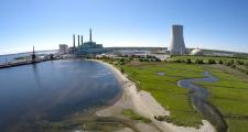 An aerial shot of the newly defunct Brayton Point power plant.