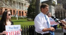 Rep. Geoff Diehl Monday outside the State House