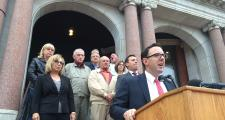 Revere Mayor Brian Arrigo (at podium) is urging Massachusetts voters to reject Ballot Question 1.