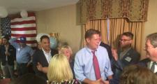 Geoff Diehl greets supporters at his US Senate campaign kickoff in Whitman Tuesday.