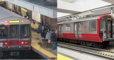 The Red Line just before evening rush hour Monday at JFK/UMass station, and a rendering of a new Red Line car, courtesy of the MBTA.