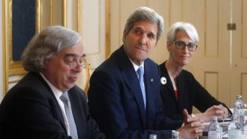 U.S. Secretary of State John Kerry, flanked by Energy Secretary Ernest Moniz (left) and U.S. Under Secretary for Political Affairs Wendy Sherman met with Iranian negotiators Tuesday at a hotel in Vienna.