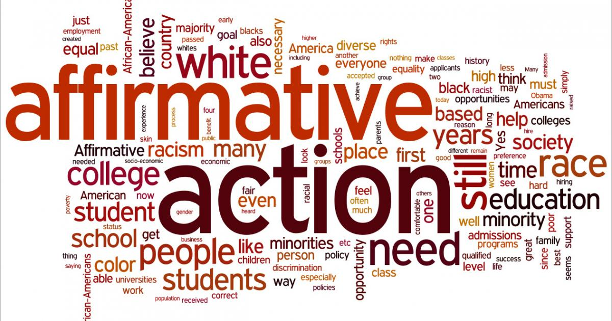 affirmative action an equal opportunity for the minorities Affirmative action the focus tends to be on ensuring equal opportunity in her review of affirmative action and the occupational advancement of minorities.