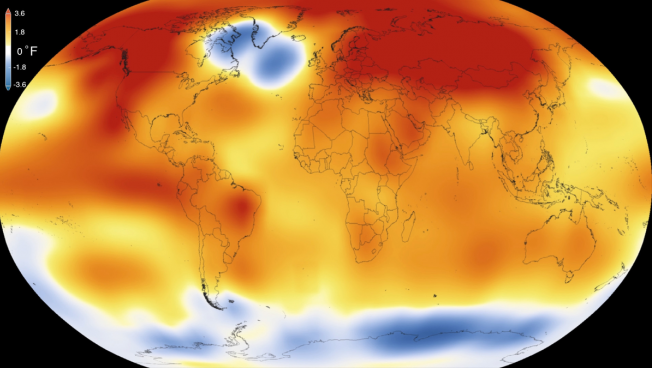 A 2015 NASA visualization depicts climate change from 1880-2015.