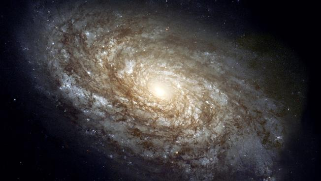 A spiral galaxy seen by the Hubble Telescope.