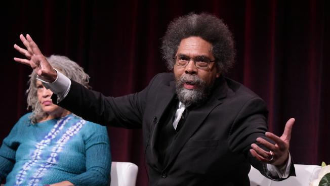 all revved up rev irene monroe breaks down cornel west s  charlayne hunter gault left and dr cornel west participate in the black america since mlk and still i rise panel during the pbs television critics