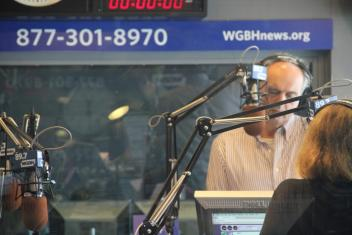 Jim Braude and Margery Eagan in the Boston Public Radio set.