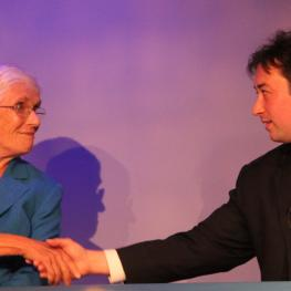 Sen. Pat Jehlen and Cambridge City Councillor Leland Cheung shake hands after their debate last week.