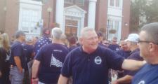 Police union members gather outside Somerville City hall