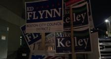 Campaign signs for Ed Flynn adorned a South Boston polling station Tuesday.