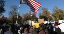 Demonstrators gathered on Boston Common to voice their disapproval of Donald Trump's election as president.